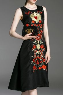 Embroidered Flare Dress