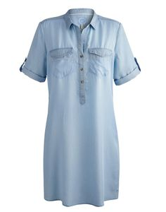 Joules Womens Longline Shirt Dress, Chambray.                     Whether you're taking time out on the beach or strolling around town this easy to wear short sleeved shirt is the perfect companion.