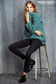 Stay stylish this spring with this Ralph Lauren Denim And Supply teal knit and skinny jean combo!