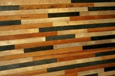 salvaged wood lath - love the different stains together
