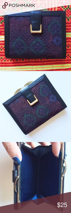 """Japanese Wallet Japanese fabric wallet. Probably vintage. I think the trim is vintage. Gold hardware. Never used so excellent vintage condition. Maybe some REALLY minor tarnishing on hardware. Comes with box. 2 compartments. About 4""""x4.5"""". Please feel free to ask any questions prior to purchase. Vintage Bags Wallets"""