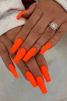 Matte Neon Orange Coffin Nails orange 45 Cute & Stylish Summer Nails for 2019 orange Orange Acrylic Nails, Bright Summer Acrylic Nails, Cute Acrylic Nails, Neon Nails, Acrylic Nail Designs, Summer Nails Neon, Neon Orange Nails, Bright Nails, Glitter Nails