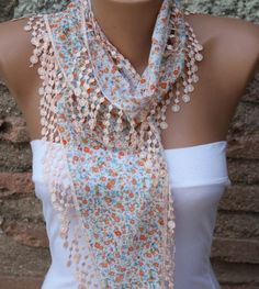 multicolor scarf  cotton scarf  headband necklace cowl by fatwoman, $13.50