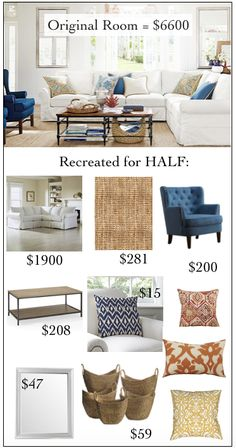 Pottery Barn Living Room $6600. Click through for sources to do it for less than…