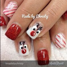Christmas nail art ideas by brittney nail designs for summer nail designs for short nails 2019 full nail stickers nail art stickers how to apply best nail polish strips 2019 Xmas Nails, Get Nails, Fancy Nails, Christmas Nails, Pretty Nails, Hair And Nails, Reindeer Christmas, Christmas Ideas, White Reindeer