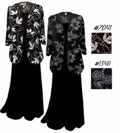 a457b781cd9 Black with Silver Daisies Plus Size   Supersize Sweater Duster L XL 0x 1x  2x 3x 4x 5x 6x 7x 8x