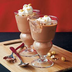 Chocolate-Hazelnut Mousse | MyRecipes.com...substitute real whipped cream for frozen topping...gently fold