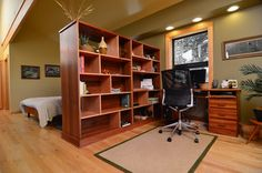 Divide the room between the bed and office corner