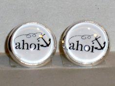 Ohrstecker Ahoi Glas Ø14mm Cabochon Metall Legierung Ohrschmuck Modeschmuck