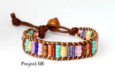 Leather Wrap Bracelet BrownPink di Project GLO su DaWanda.com