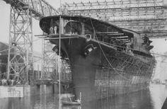 Aircraft carrier Akagi after her launch, Kure, Japan, 6 April 1925.