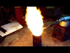12 volt Blower for Waste Oil burners, heaters and furnaces Tested. - YouTube a way to make it even more efficient and burn hotter would be too preheat the air by wrapping the tube around the flames before it enters and insulate the burn chamber.