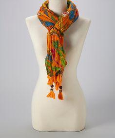 Love this Orange Feather Linen-Blend Scarf by Pretty Angel on #zulily! #zulilyfinds