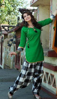 $63.7 Green and Black Cotton Salwar Kameez 25589