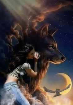 Beautiful Wolves, Beautiful Gif, Animals Beautiful, Fantasy Wolf, Fantasy Art Women, Animated Love Images, Wolves And Women, Native American Spirituality, Wolf Spirit Animal