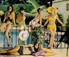 1962 swimsuit fashions featuring Stephanie Powers, Joan Blackman, Suzan Silo, Barbara Eden and Julie Payne in the foreground.