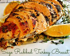 Sage Rubbed Turkey Breast~ Tip, Use an oil in place of butter~     1 turkey breast, 2-3 pounds     1 onion, sliced     1/2 stick of butter     juice of 1 lemon     sea salt and pepper     1 tbsp dried sage     1 tbsp dried thyme     2 tsp garlic powder     2 tsp onion powder     1 tsp paprika