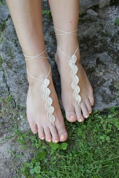 Crochet Barefoot Sandals Beach wedding shoes Wedding por craftbyaga