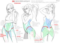 """""""Translated to eng but my eng is terrible is not professional. so ignored that. Drawing Reference Poses, Anatomy Reference, Drawing Skills, Drawing Poses, Figure Drawing, Drawing Female Body, Human Anatomy Drawing, Girl Anatomy, Anatomy Art"""