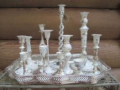 Cottage Chic Brass Wedding Candle Holders Painted by sherbieherbie, $86.00