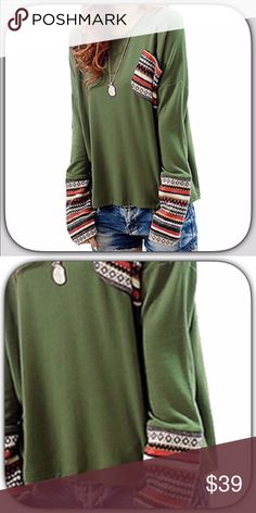 JUST IN! NWT Sweet Green Thumb Sleeve Aztec Top This is a very sweet fun Top! It has Thumb holes to keep your hands warm on a cool day! I get so many compliments when I wear mine! I love it! Super soft and comfy! Sleeve pattern varies! Nice long sleeves! Boutique Tops Tees - Short Sleeve