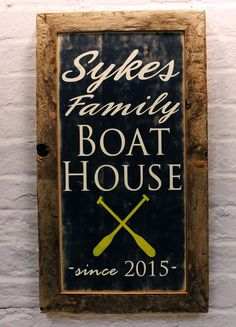 Lake House Decor Sign, Boat Oar Sign, Personalized with Family Name Lake House Sign, Established Date  Wood or Canvas, Lake House Gift by MadiKayDesigns on Etsy #boatonlakedreams