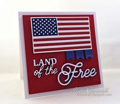 handmade patriotic card: Land of the Free by kittie747  ... red, white and blue ... all die cuts ... flack and sentiment ... for Memorial Day but perfect for other partriotic days ... Impression Obsession dies ...