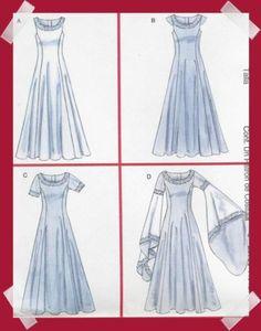 Medieval Dress Pattern Eowyn Arwen LOTR SCA Prom McCalls 4491 s M 6 8 10 12 | eBay