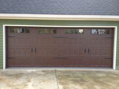 Steel Recessed Panel Dark Wood Grain Carriage House Garage Door with Windows & Decorative Hardware