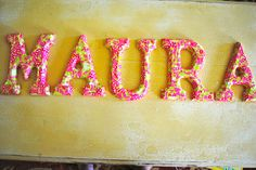 made with hundreds of pieces of lily pulitzer wrapping paper and mod podge