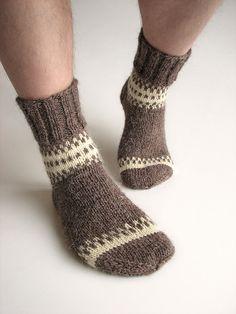 Hand Knitted Patterned Woolen Men's Socks  Natural by milleta on Etsy www.etsy.com/shop/milleta