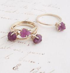 Raw Ruby Rings by Erica Weiner, $495 #nondiamondrings
