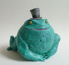 Green Toad with Top Hat - Green Fat Frog, Toad Sculpture, Collectable Toad Art Object, Papeweight, Cake Topper, Home Decor by AlanJamesdesigns on Etsy