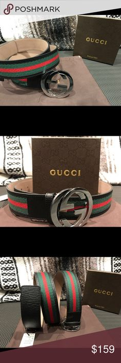 NEWAuthentic Men's Black Green Red Gucci Belt You are looking at 100% authentic brand new never opened Gucci belt!!!!   -Comes with Tags,Dust Bag, and Box  -Fast Same day priority USPS shipping, the shipping number takes a while to update -Sizing made easy! With US and European sizes  -Comes from a smoke free and pet free home   Reasonable offers accepted. Buy more to save more ! Gucci Accessories Belts