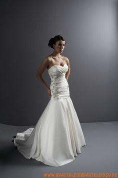 Modisches und luxuriöses Brautkleid aus Satin im Meerjungfraunstil Herz-Ausschnitt mit Applikation kaufen online 2012