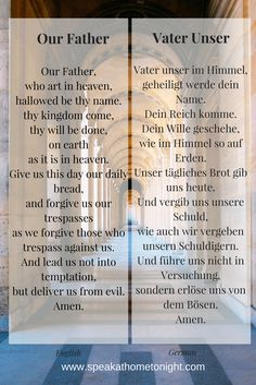 Our Father in German | Vater Unser auf Englisch | How to Pray in German | German Prayers