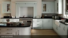 Gallery Rigid In-Frame Painted White & Light Blue-Sheraton Kitchens- Omega