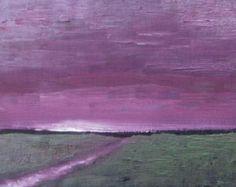 Granero en el lienzo de la noche impresionista por VESNAsART