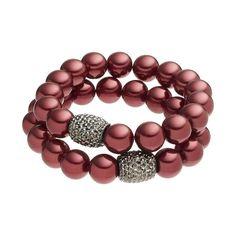 Croft & Barrow® Raspberry Beaded Stretch Bracelet Set, Red