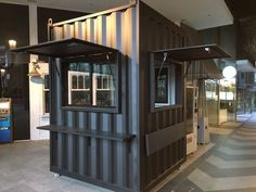 Container Coffee Place in Melbourne Our client needed additional space to serve up their coffee. This unit was carefully constructed from shipping container panels and included windows shutters and lockable roller door. Container Coffee Shop, Container Shop, Container Design, Shipping Container Cafe, Food Stall Design, Food Truck Design, Cafe Shop Design, Kiosk Design, Small Coffee Shop
