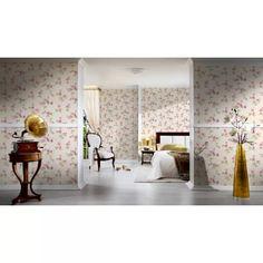 """Papier Peint """"Rosier Grimpant"""" sur Fond Graphique (Fuschia), (Beige Nacre), (Abricot), (Prune), (Rose), (Jaune) - Homemaison : vente en ligne papiers peints floraux Prune, Piece A Vivre, Oversized Mirror, Bedroom, Collection, Beige, Furniture, Home Decor, Rose Bush"""