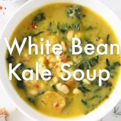 The best Tuscan White Bean Kale Soup recipe with winter squash, leeks, lacinato kale and creamy cannellini beans. vegan, WFPB and gluten free! Healthy Soup, Healthy Recipes, Vegetarian Kale Soup, Clear Vegetable Soup, Vegan Bean Soup, Butter Bean Soup, Vegan Soups, Vegetarian Recipes, White Bean Kale Soup