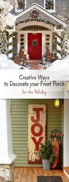 Creative Ways to Decorate your Front Porch for the Holidays • Ideas & Tutorials! Hanging Christmas Lights, Christmas Lights Outside, Christmas Tree Decorations, Christmas Gifts For Women, Simple Christmas, Christmas Home, Porch Decorating, Decorating Ideas, Decor Ideas