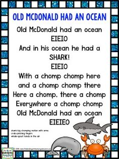 The Kindergarten Smorgasboard: Schedulin Sunday: Oceans Week 2 Songs For Toddlers, Lesson Plans For Toddlers, Kids Songs, Pk Songs, Silly Songs, Rhymes Songs, Letter O Song, Ocean Poem, Preschool Music