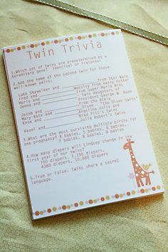 Twin Trivia game for baby shower