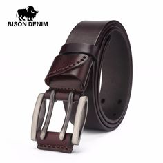 best price bison denim vintage double pin buckle genuine leather belt for men casual jeans accessories #gifted #adults
