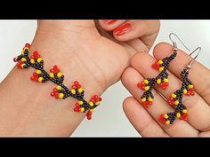 Beaded Bracelets Tutorial, Earring Tutorial, Jewelry Making Tutorials, Beading Tutorials, Beaded Jewelry Patterns, Bracelet Patterns, Bead Jewellery, Diy Jewelry, Beaded Wedding Jewelry