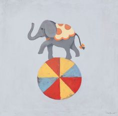 """""""Balancing Elephant"""" - Canvas Wall Art from Oopsy daisy, Fine Art for Kids"""