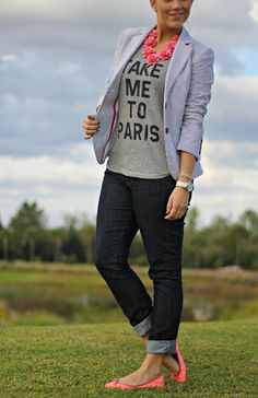 """Love the pop of coral-pink and """"Take Me to Paris"""" graphic tee!"""