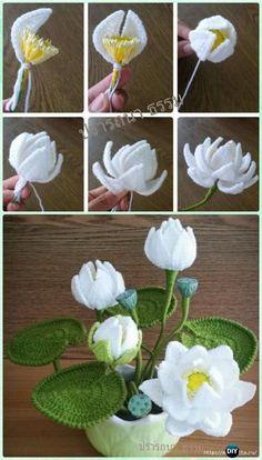 Crochet Water Lily Flower Bouquet Free Pattern-Crochet 3D Flower Bouquet Free Patterns